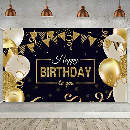 Glücklich 30. 40. 50. 60. Geburtstag Party Dekoration, Extra Große Stoff Zeichen Poster für Alles Gute zum Geburtstag Hintergrund Banner, Alles Gute zum Geburtstag Schwarz Gold Party Lieferungen