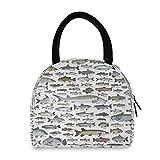Bolsa de almuerzo portátil con patrón de peces de mar bolsa de almuerzo aislada para mujeres hombres muchacho niña reutilizable bolsa de mano oficina escuela picnic