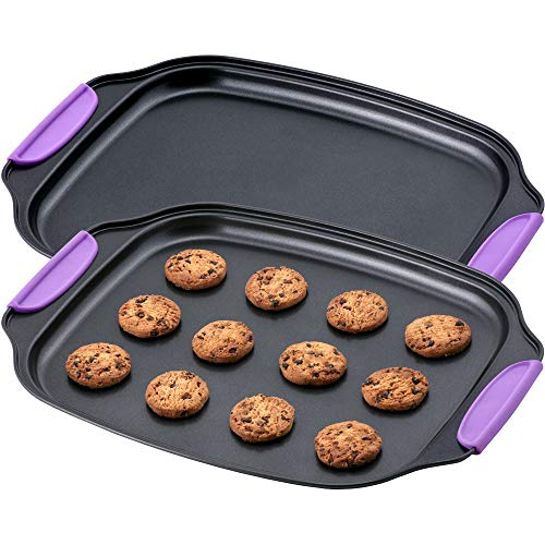Amazing Abby – Chef Stacy – 2-Pack 13″ x 11″ Non-Stick Pan Sheet with Heat-Resistant BPA-Free Silicone Handle Grips, Flat Cookie Sheet, Oven-Safe Bakeware, Carbon Steel Pan for Oven