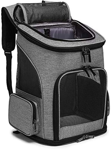 YQDSY Pet Carrier Backpack Dog Cat Puppy Carrier Bag Back Should Bag Ventilated Design and Safety Features for Travel Hiking Outdoor Use,Airline Approved Light Grey Camping Hiking
