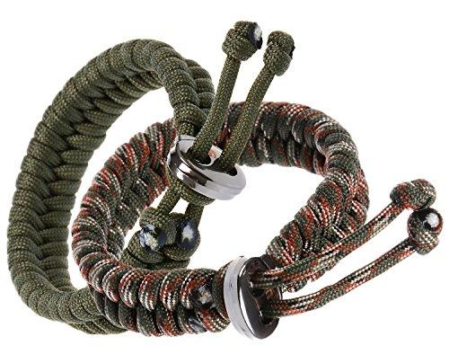 The Friendly Swede 2 Stück Freundschaftsarmband aus Paracord mit Metallverschluss und Verstellbarer Größe (Armee Grün und Armee Grün Camo)