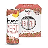 Humm Probiotic Kombucha Zero Sugar Peach Tea - No Refrigeration Needed, Keto-Friendly, Organic, Vegan, Gluten-Free - 11oz Cans (4 Pack)