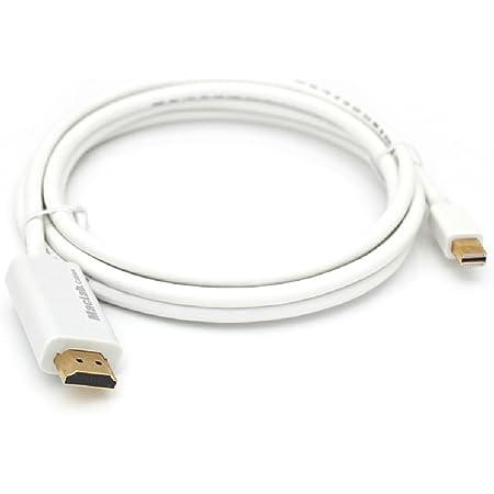 MacLab. Thunderbolt HDMI 変換 ケーブル 1.8m ホワイト Mini DisplayPort HDMI Mini DP サンダーボルト ミニディスプレイポート HDMI TV テレビ 接続 モニター minidp ミラーリング Apple アップル mac book macbook pro air imac mini Microsoft surface などと互換性有り BC-MDH18WH