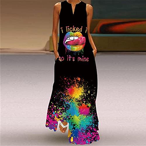 Vestidos Para Mujer Verano,Vestido De Mujer Labios Sexys Con Salpicaduras De Colores Impresión 3D Escote En V Negro Sin Mangas Vestido Largo Bolsillo Falda De Swing De Gran Tamaño Informal Fiesta