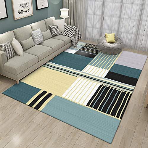 VGFGI Fresco Amarillo-Verde Rayas Curvas Irregulares Sala de Estar geométrica Dormitorio Cocina cabecera impresión 3D área Antideslizante Alfombra Felpudo