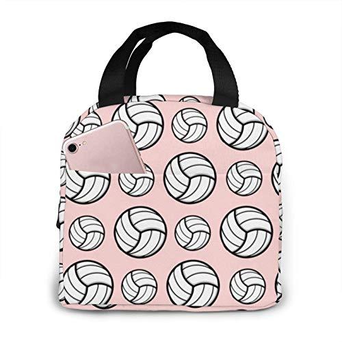 Bolsa de almuerzo con diseño deportivo de voleibol, color rosa, resistente al calor, portátil, bolsa de almuerzo, con aislamiento gourmet, para picnic, senderismo, playa, pesca