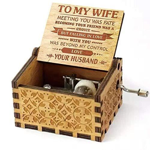 Caja de música FGHFG de madera de vida completa para mujeres, lisas, antiguas, talladas, ideas expresas amor para esposa e hija