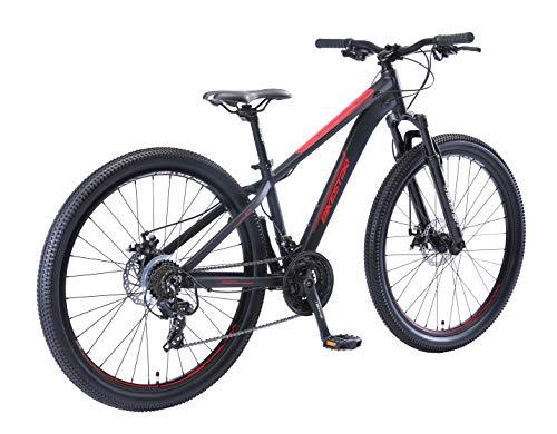 BIKESTAR Hardtail Aluminium Mountainbike Shimano 21 Gang Schaltung, Scheibenbremse 27.5 Zoll Reifen | 14 Zoll Rahmen Alu MTB | Schwarz Rot