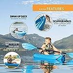Lifetime Youth Wave Kayak (Paddle Included), Blue, 6' 12 Ergonomic Cockpit Design Enhances Balance and Motor Skills Molded finger handles on each side of the kayak Reverse chine for enhanced stability with swim-up step