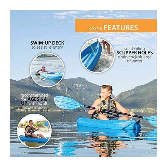 Lifetime Youth Wave Kayak (Paddle Included), Blue, 6' 2 Ergonomic Cockpit Design Enhances Balance and Motor Skills Molded finger handles on each side of the kayak Reverse chine for enhanced stability with swim-up step