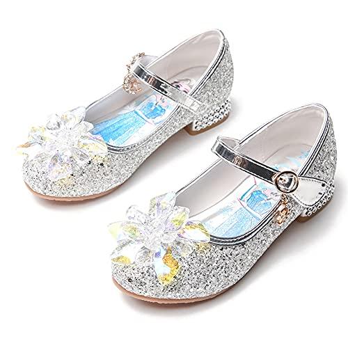 YOSICIL Zapatos de Lentejuelas Zapatos de Princesa Zapatillas de Frozen Zapatos de Tacón Niña Bailarina Niña comunion Disfraz de Princesa para 3 a 12 Años 23-37