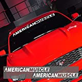 2 Pieces AMERICANMUSCLE Bold Text GT Front & Rear Window Windshield Logo Banner Vinyl Decal Stickers for Ford Mustang Accessories (Reflective White)