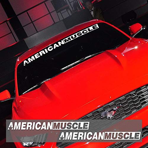Charminghorse 2 Stück AMERICANMUSCLE Bold Text GT Front- und Heckscheiben-Logo, Vinyl-Aufkleber für Ford Mustang Zubehör Weiß FDWD001