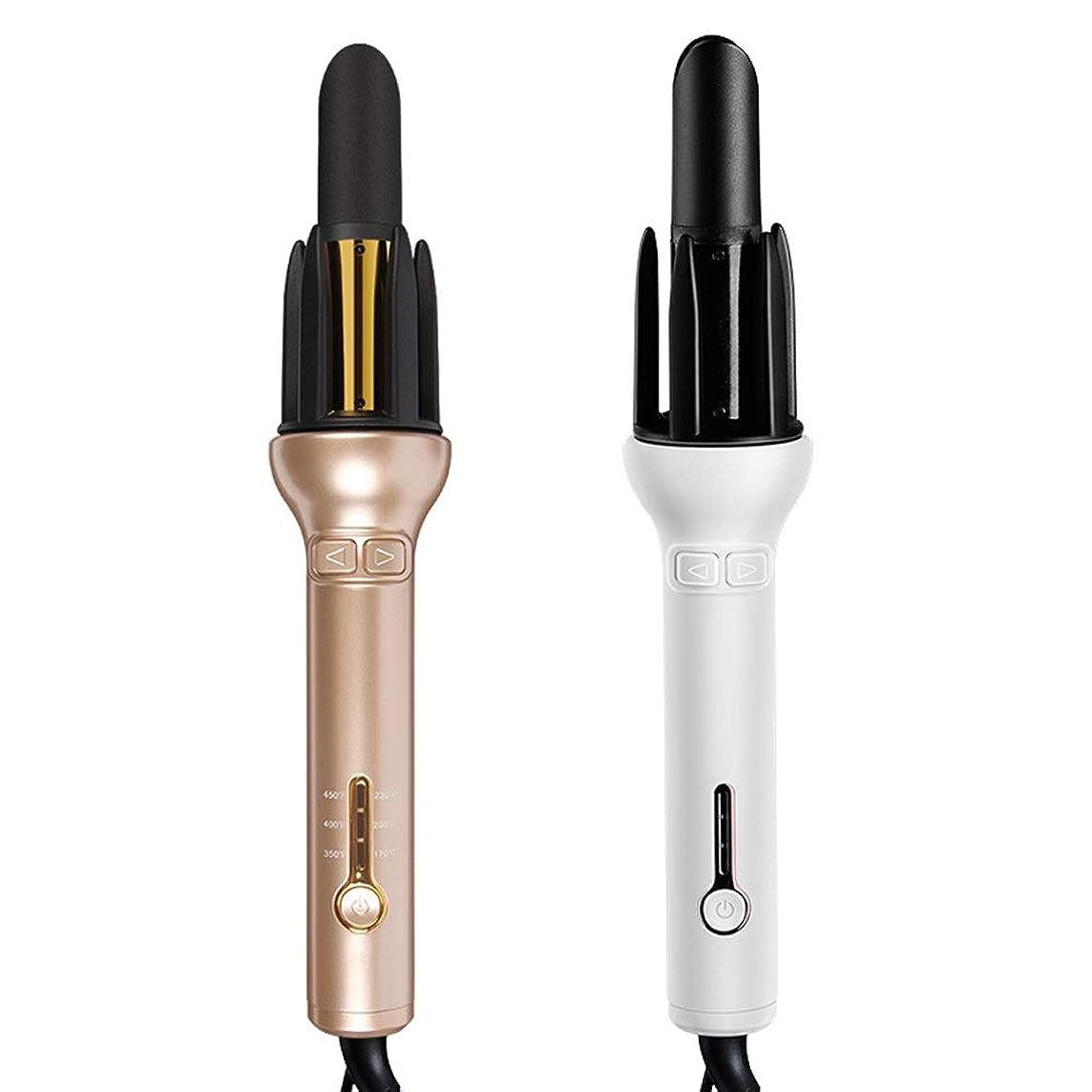 ゴミ攻撃本物の自動巻き毛スティックは髪を傷つけませんゴールドセラミックヘアスティックナシ花ビッグウェーブレイジーカーリーヘアアーティファクトセラミックグレーズコーティングヘアケア3温度調節可能360°巻き上げテールなし1ボタン操作 (Color : 白)