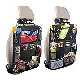 Auto Rückenlehnenschutz, 2 Stück Groß Auto Rücksitz Organizer für Kinder, Große Taschen Wasserdicht Autositzschoner mit 12 Zoll iPad/Tablet-Tasche, Kick-Matten-Schutz für Autositz