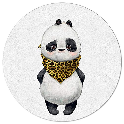 Round Area Rugs Panda with Leopard Scarf Soft Indoors/Living Room/Bedroom/Children Playroom/Kitchen Mats Funny Cute Animal Themed Non Slip Rubber Backing Yoga Carpets 4 ft Diameter