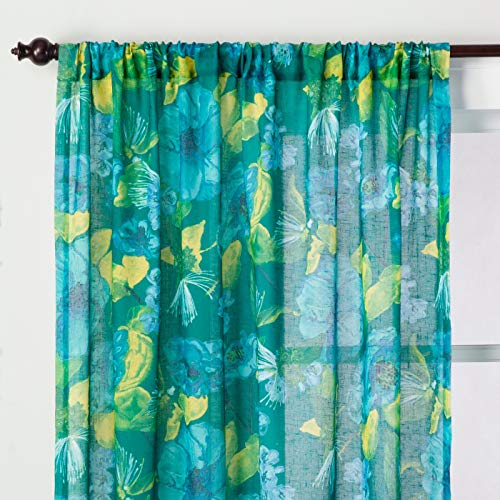 """Opalhouse Indochic Floral Sheer Curtain Panel Bluff Green - 63"""""""
