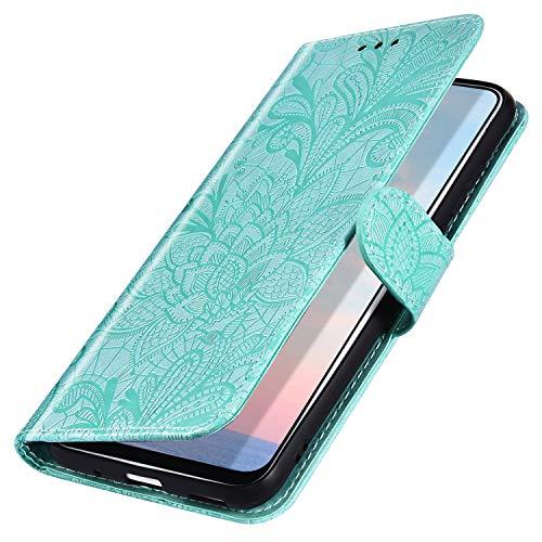 MoreChioce Coque Galaxy A10,compatible avec Coque Rabat pour Samsung Galaxy A10,Élégant Vert Fleur de Dentelle Relief Housse à Clapet Etui en Cuir Portefeuille Protective Flip Case Magnétique