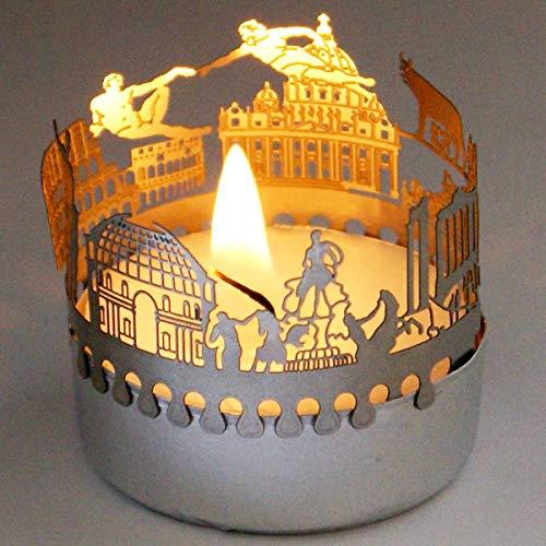 13gramm Rom-Skyline Windlicht Schattenspiel Souvenir, 3D Edelstahl Aufsatz für Kerze inkl. Karte