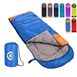 Sleeping Bag 3 Season Warm & Cool Weather - Summer, Spring, Fall, Lightweight,Waterproof Indoor & Outdoor Use for Kids, Teens & Adults for Hiking,Backpacking and Camping (Blue Orange, Single)