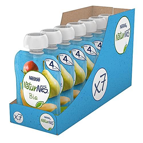 Naturnes BIO Bolsitas fruta Nestlé pera manzana platano 90g - Pack de 7