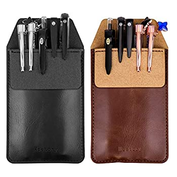 Meetory 2 Pieces Leather Pen Holder Pens Pocket Protector Pocket Protector for Shirts Lab Coats Pants  Brown Black