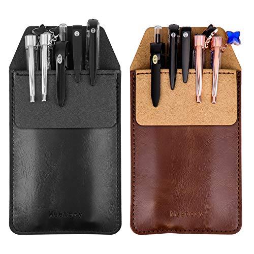 Meetory 2 soportes de piel para bolígrafos, protectores de bolsillo para camisas, abrigos de laboratorio, pantalones (marrón, negro)