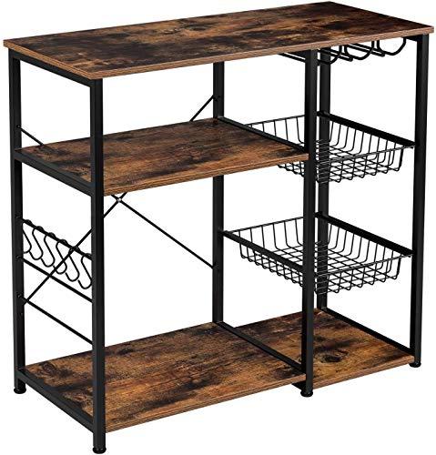 Homfa Küchenregal Standregal Metallregal Mikrowellenregal Bäcker Regal mit 2 Drahtkörbe 6 Haken Weinglashalter aus Metall Holz Industrie-Design Vintage