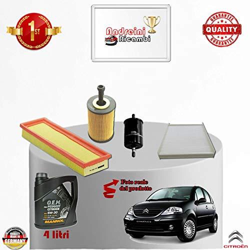 Tecneco Kit filtres + Huile Citroen C3 1.1 44 kW 61 cV depuis 2007 – > 2009