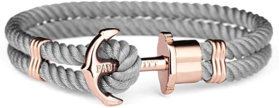 PAUL HEWITT Anchor Bracelet Women PHREP - Sailcloth Bracelet for Women, Nylon Bracelet for Women (Grey) with Anchor Jewelry Made of IP Stainless Steel (Rose Gold), Beautiful Jewelry for Women