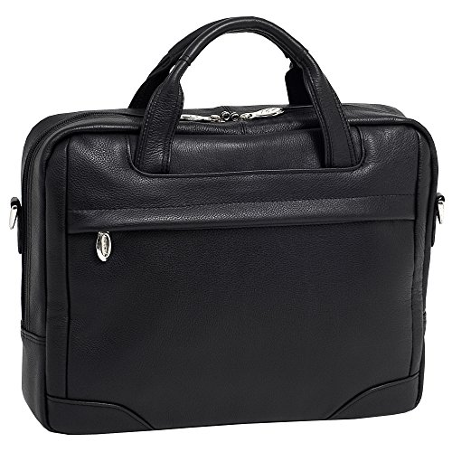 McKlein USA [Personalized Initials Embossing] Mens BRIDGEPORT 15.6' Leather Large Laptop Brief Case in Black
