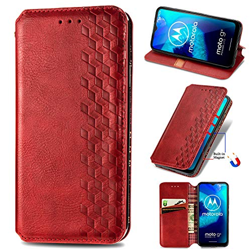 Snow Color Moto G8 Power Lite Hülle, Premium Leder Tasche Flip Wallet Case [Standfunktion] [Kartenfächern] PU-Leder Schutzhülle Brieftasche Handyhülle für Motorola Moto G8 Power Lite - COSD020448 Rot