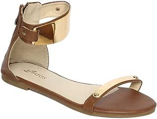 ESTATOS Faux Leather Open Toe Ankle Strap Metal Decorated Zip Closure Black Flat Sandals for Women