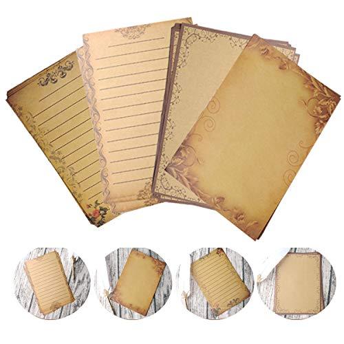 Mengger Briefpapier Altes Papier Vintage 64 Blatt Umschläge Set Schreibpapier Schreibwaren Briefe Motivbriefpapier Alt Casanova Mittelalterliches DIN A5 Beidseitig Briefpapiere