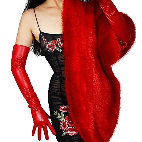 DooWay Opera Long Leather Gloves for Women Hot Red Evening Dressy Driving Cosply Costume Faux Sheepskin Full Finger Gloves