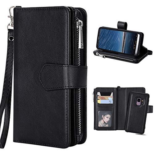 Hülle Galaxy S9 Flip Case, Galaxy S9 Geldbeutel Leder Schwarz, Purple Angel Magnet Leder Handyhülle Abnehmbar Brieftasche Case Cover im Ständer Kartenfach Schutztasche Schale Etui