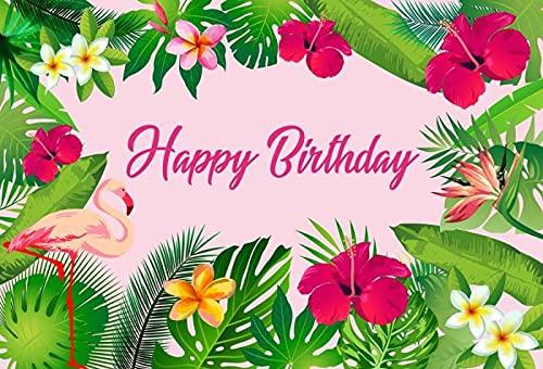 Fiesta de cumpleaños de Flamingo Palmera Tropical Playa Foto de Fondo fotografía de Fondo Estudio fotográfico A7 9x6ft / 2,7x1,8 m
