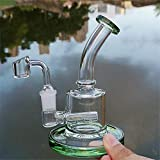 RORA Pipa de agua de cristal para fumar con cuenco de cuarzo (verde)