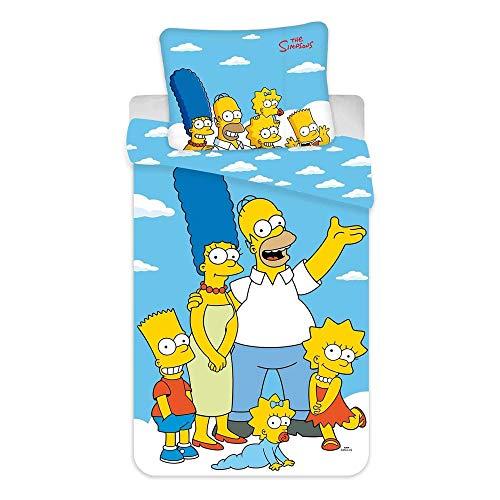 The Simpsons Juego de funda de edredón de 100% algodón, diseño de nubes familiares