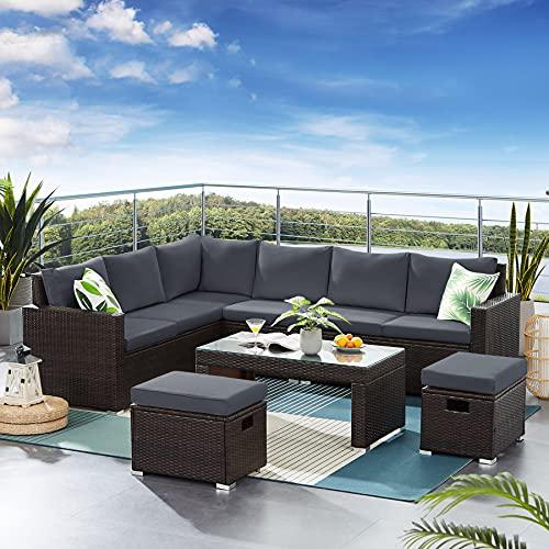 Tibesigns Gartenmöbel-Set, Rattan-Set, Sitz-Glas-Couchtisch, Gesprächs-Set mit Kissen und Kissen für Rasen, Hinterhof, Pool