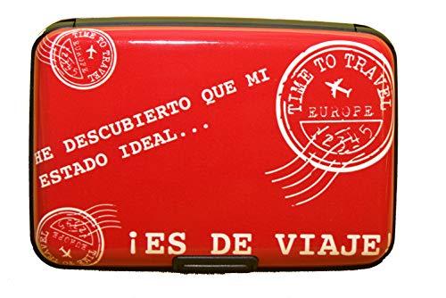 NIGHTMARE STYLE Tarjetero con función Bloqueo RFID y NFC Presentación para Regalar. Porta-Tarjetas para Hombre o Mujer. Equipaje de Viajes (Rojo)