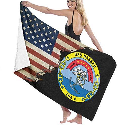 521 USS Nassau LHA-4 Mit Usa-Flagge Badehandtücher Schnelltrocknend Summer Badetuch Leicht zu pflegen Duschtuch Ausbleichsicher Fitness Strandtuch Für Fitnessstudio Picknick Frauen Männer,80X130Cm