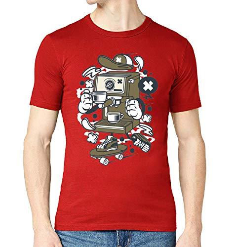Cartoon stijl koffiemachine Skater Urban drinken mannen bemanning hals T-Shirt