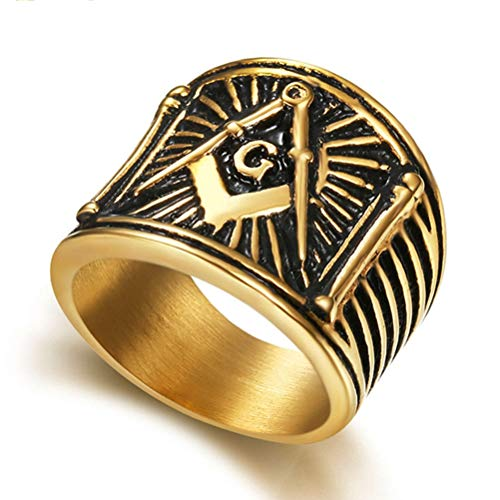 Men's Stainless Steel Masonic Ring, Vintage Gold Plated AG Freemason Symbol Master Mason Signet Biker Band Rings, Party Prom Personality Amulet Jewelry Ring,8