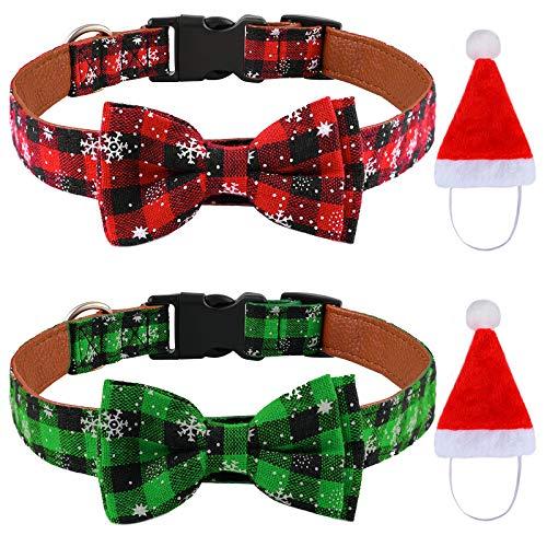 Elcoho Hundehalsbänder mit Fliege und Glöckchen, Weihnachtsmotiv, 2 Stück