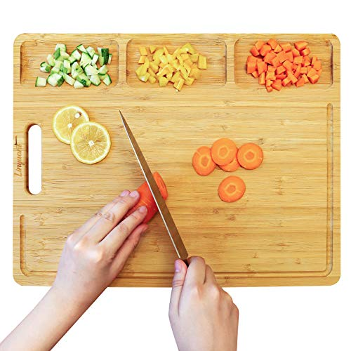 Linyuant Extra Large Bamboo Cutting Board Organic Wood Cutting Boards with Juice Groove Kitchen Cutting Board with 3 Compartments Wood Chopping Board Butcher Block Cutting Board for Meats Fruit