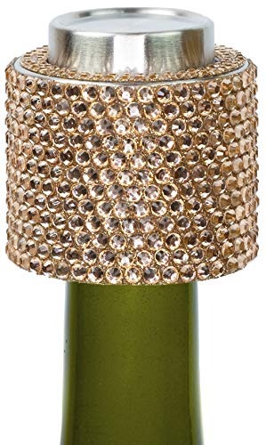 Stratton.I Champagne Stoppers Prosecco Sparkling Wine Stopper, Bottle Sealer, Colorado Peach - Glass Crystal Gift-Pack, Reusable Accessories Rhine-Stone