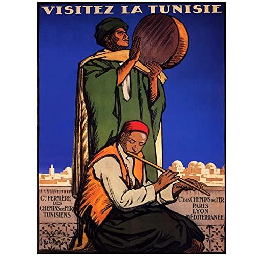 Carteles de viaje de África Vintage visita Túnez pinturas clásicas en lienzo carteles de pared decoración del hogar 50x70 cm x1 sin marco