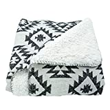 """HiEnd Accents Shearling Southwest (Black & White) Aztec Soft Throw Blanket, 50"""" x 60"""""""