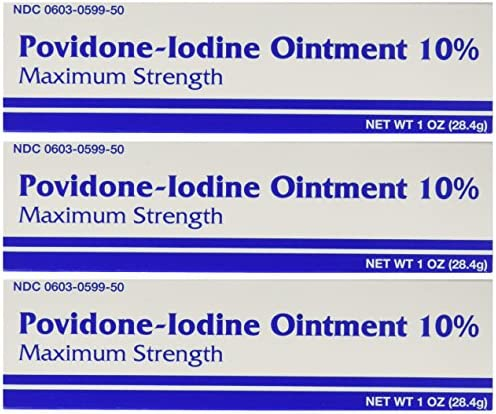 Major Povidine Povidone Iodine 10% First Aid Ointment 1 Oz / 28.35gm for Cuts Scrapes Burns (Compate to Betadine)